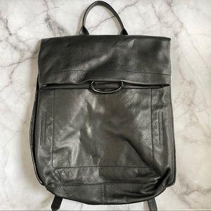 Kooba black leather foldover backpack